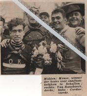 WIELERSPORT..1938.. SCHAFFEN..MENOE WINNAAR / VAN RANSBEECK  / CORDIER - Unclassified