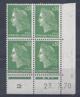 MARIANNE De CHEFFER N° 1611 - BLOC De 4 COIN DATE - NEUF SANS CHARNIERE - 23/7/70   3 Points - 1960-1969