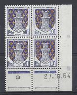 BLASON NIORT N° 1351A - Bloc De 4 COIN DATE - NEUF SANS CHARNIERE - 27/10/64 1 Point - 1960-1969