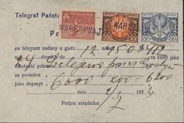 Pologne Entier Poczta Polska Telegraf Panstwowy Pokwitowanie Aigle Bleu 80 M + YT 226 + 229 Inflation 2 3 1923 Warszawa - Postwaardestukken