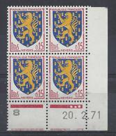 BLASON NEVERS N° 1354 - Bloc De 4 COIN DATE - NEUF SANS CHARNIERE - 20/2/71 - 3 Points - 1960-1969