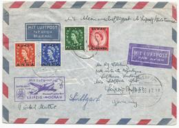 Kuwait First Flight Cover To East Germany DDR Leipzig 1955 Via Denmark FFC - Kuwait