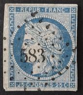 YT 4 (cote 65 €) Obl PC 583 Calais (61 Pas De Calais) Ind 2 - 1849-1850 Ceres