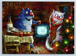 CATS Christmas EVE TV Tree FUNNY By Zeniuk New Unposted Postcard - Non Classificati