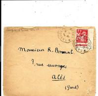 CONVOYEUR > LANGON A NIMES - Sur Lettre 1941 - IRIS 1F (n°433) Seul COIN De Feuille 1939 - Spoorwegpost