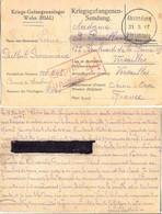 GUERRE 14-18 CP DE PRISONNIER FRANÇAIS CAMP De WAHN GEPRUFT 44 LIMBURG 5-1917 => VERSAILLES SENE ET OISE – BARRÉ/CENSURE - Guerra De 1914-18