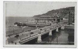 (RECTO / VERSO) SAN SEBASTIAN - N° 16 - PUENTE DE LA ZURRIOLA Y KURSAAL - BEAU TIMBRE - CPA AVEC GLACAGE VOYAGEE - Guipúzcoa (San Sebastián)