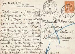 PAIX 80C SUR CPA LYON GUILLOTIERE 30/7/1940 POUR CHALON S/SAONE AVEC RETOUR + GRIFFE ZONE OCCUPEE - 2. Weltkrieg 1939-1945