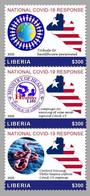 LIBERIA 2020 FULL SET 3V - JOINT ISSUE - STRUGGLE AGAINST COVID-19 PANDEMIC PANDEMIE CORONA CORONAVIRUS - RARE MNH - Gemeinschaftsausgaben