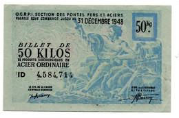 France -  50 KG Acier Ordinaire 31/12/1948 -  O C R P I -  SUP - Bons & Nécessité
