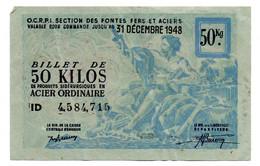 France -  50 KG Acier Ordinaire 31/12/1948 -  O C R P I -  TTB - Bons & Nécessité