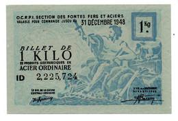France -  1 KG Acier Ordinaire 31/12/1948 -  O C R P I -  SPL - Bons & Nécessité
