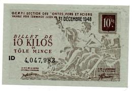 France -10 KG Acier Ordinaire 31/12/1948 -  O C R P I -   SPL - Bons & Nécessité