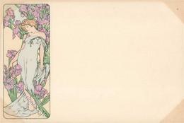 Mucha, Alfons Lady In Blue Dress With Irises I-II - Mucha, Alphonse