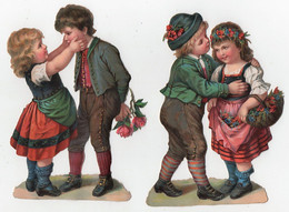 CHROMO Découpis Enfants Fille Fillette Garçon Fleurs Roses (2 Chromos) - Unclassified