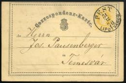 LIPÓTVÁROS 1870. Régi Díjjegyes Lap Temesvárra Küldve, Pausenberger - Lettere