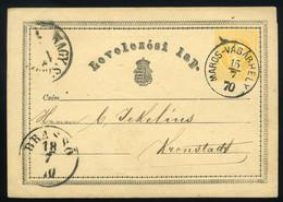 MAROSVÁSÁRHELY   1870. 2Kr-os Díjjegyes Lap , Szép Bélyegzéssel  Brassóba Küldve - Lettere