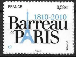 France 2010 Adhésif N° 508 Neuf Barreau De Paris Cote 4 Euros - Adhésifs (autocollants)