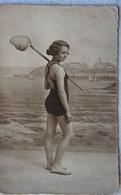Photox3 Baigneuse Baigneur Maillot De Bain Swimsuit Circa 1925 Belgium Pêche à La Crevette - Anonyme Personen