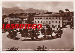 SARNANO - ALBERGO LITTORIO GIARDINI PUBBLICI E VEDUTA MONTI SIBILLINI F/GRANDE VIAGGIATA 1935 ANIMAZIONE - Macerata