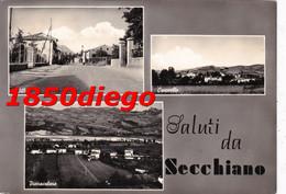 SALUTI DA SECCHIANO - MULTIVEDUTE F/GRANDE VIAGGIATA 1957 ANIMAZIONE - Pesaro
