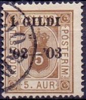 IJSLAND 1902 5aur Dienstzegel Wapentype Met Opdruk I GILDI Perf Perf 14x13½ GB-USED - Dienstzegels