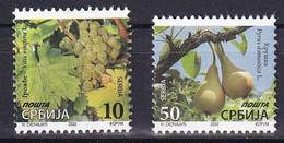 SERBIA 2020,PLANTS,FRUITS,GRAPES PEAR,Vitis,Prunus ,DEFINITIVE STAMPS,MNH - Serbia