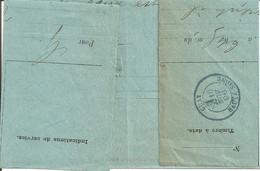 Gray ( Haute Saône). Cachet Type 18m Bleu Sur Télégramme 10 Novembre 1896 - Bolli Manuali
