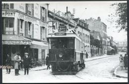 Paris - Format CPA Photo Cartonnée Tirage Tardif - Tramway De La Ligne 108 - Voir 2 Scans - Tramways