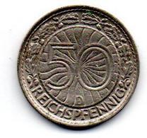 Allemagne - 50 Pfennig 1928 D - TB+ - Reunion