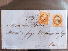 Lettre - Napoléon III Empire Franc -  N°13A 10c Bistre Type I - Troyes / Cousances Les Forges / Forbach - 1862 - 1853-1860 Napoleon III