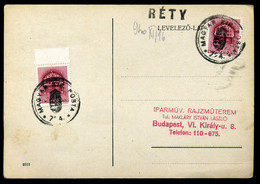 RÉTY 1940. Levelezőlap, Kisegitő Bélyegzéssel - Brieven En Documenten