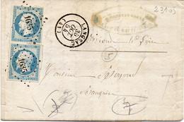 """FRANCE : PC 1635 . """" LANGEAC  """" . 2 EX . 1854 . - 1849-1876: Klassik"""