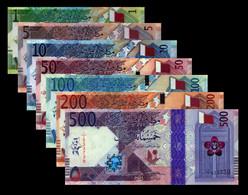 New! Qatar 2020 500 200 100 50 10 5 1 UNC Riyals P-NEW Complete - Qatar