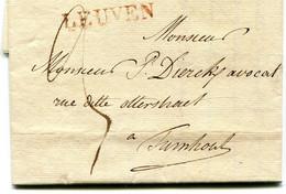 Belgique Précurseur Griffe Rouge Belle Frappe LEUVEN-Turnhout 1826 Taxée 3 Avec Texte - 1815-1830 (Periodo Olandese)