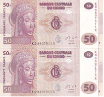 PAREJA CORRELATIVA DE EL CONGO DE 50 FRANCS DEL AÑO 2013 SIN CIRCULAR (BANK NOTE) UNCIRCULATED - Republik Kongo (Kongo-Brazzaville)