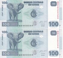 PAREJA CORRELATIVA DE EL CONGO DE 100 FRANCS DEL AÑO 2013 SIN CIRCULAR (ELEFANTE-ELEPHANT)(BANK NOTE) UNCIRCULATED - Republik Kongo (Kongo-Brazzaville)