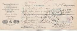Lettre Change Illustrée 18/12/1879 SCHWEITZER Bonneterie PUTEAUX Maison Vente 130 Rue De Rivoli PARIS - Bills Of Exchange