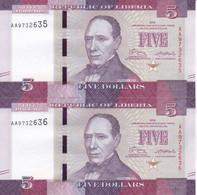 PAREJA CORRELATIVA DE LIBERIA DE 5 DOLLARS DEL AÑO 2016 SIN CIRCULAR (BANK NOTE) UNCIRCULATED - Liberia