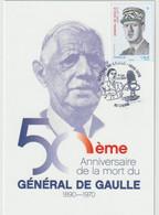 France Carte Postale 1er Jour Du 50ème Anniversaire De La Disparition De Général De Gaulle - 2010-....