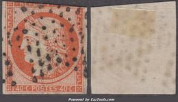 40c Orange De 1850 Oblitéré Très Défectueux à -10€ ! (Dallay N° 5, Cote 600€) - 1849-1850 Ceres
