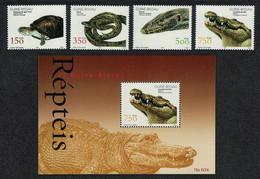 Guinea-Bissau 2002 Turtle Python Lizard Crocodile Reptiles 4 Stamps+ Block 16 Euro - Other
