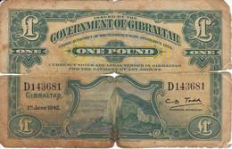 BILLETE DE GIBRALTAR DE 1 POUND DEL AÑO 1942  (BANKNOTE-BANK NOTE) - Gibraltar
