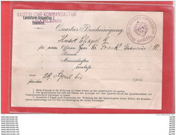 Quartier Bescheinigung Kaiserliche Kommandantur CHARLEROI  - Sceau - 29 Avril 1915 - Deutsche Armee