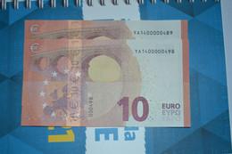 2x 10 EURO - GREECE - Y002G2 - YA1400000498 / YA1400000489 - FDS - UNC - NEUF - 10 Euro