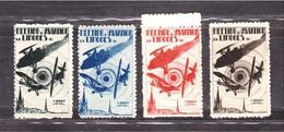 Vignettes AVION MEETING Limoges Vienne 1931 Série De 5 - Luchtvaart