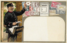 Poste - Carte Gaufrée - En Relief - Facteur - Képi Tournée Courrier Sacoche Postiers - Boîte à Aux Lettres - Timbres - - Postal Services