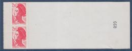Liberté De Gandon, D'après Delacroix,  2f20 N°2427 Neuf En Paire Tenant à La Couverture Du Carnet - 1982-90 Liberté De Gandon