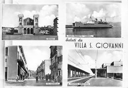 """1749""""VILLA S.GIOVANNI-SALUTI-""""STAZIONE FERR-TRAGHETTO""""CARIDDI""""  ANNI 50 CART ORIGINALE - Sin Clasificación"""