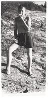 Semi Nude Naked Little Girl Boy On Beach Swimming Trunks Enfant Garçon Fille Nue La Plage Original Vintage Photo *1471D - Anonymous Persons